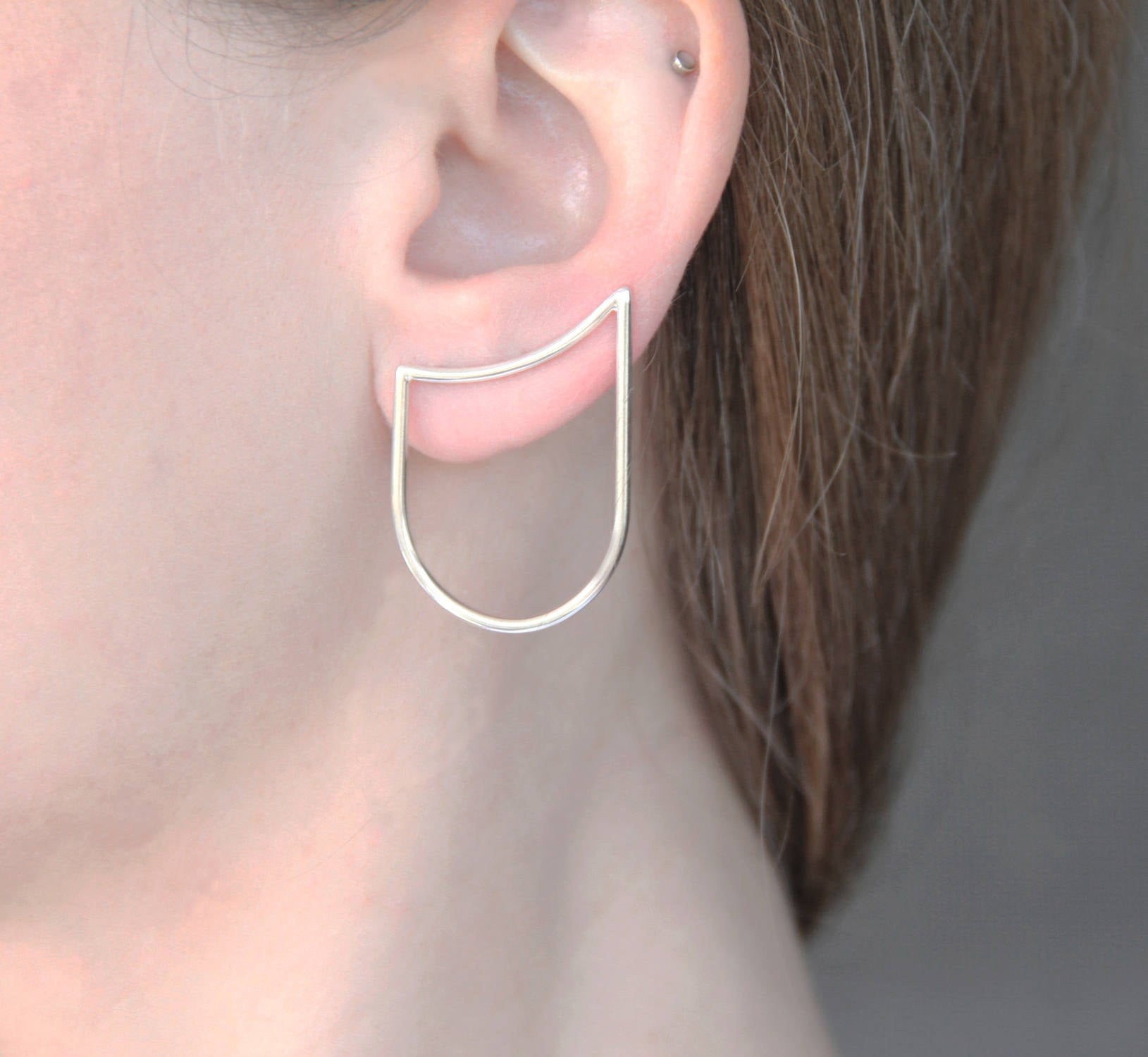 Sterling Silver Curved Line & Arch Ear Climber / Single Or Pair