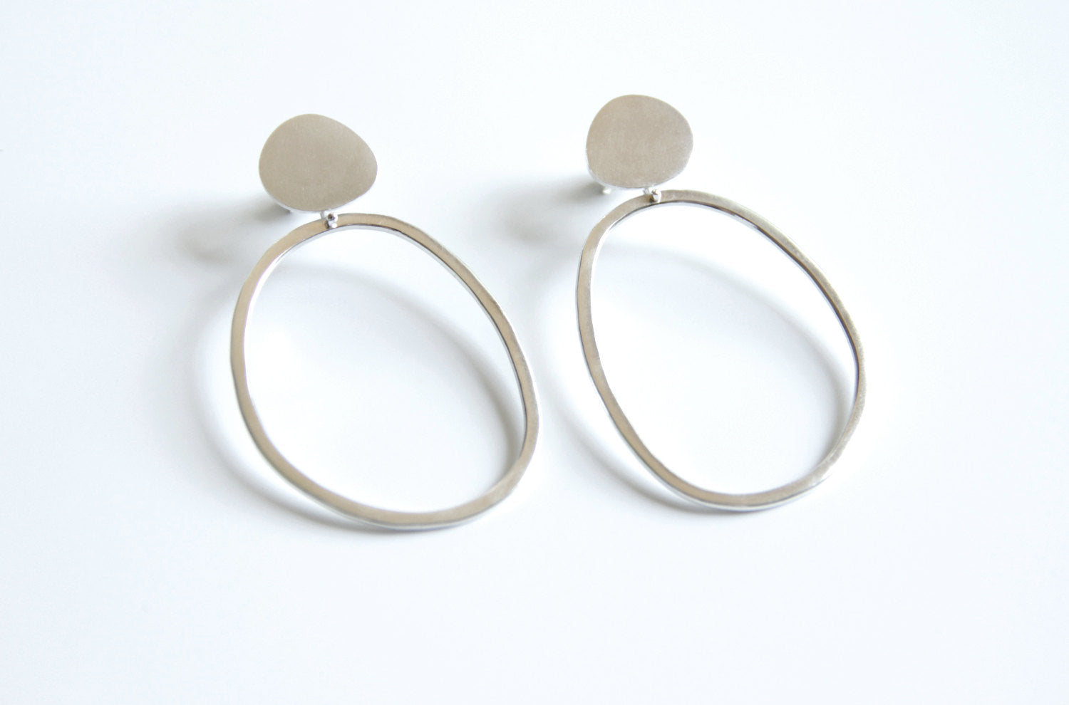 Sterling Silver Pebble & Abstract Hoop Earrings