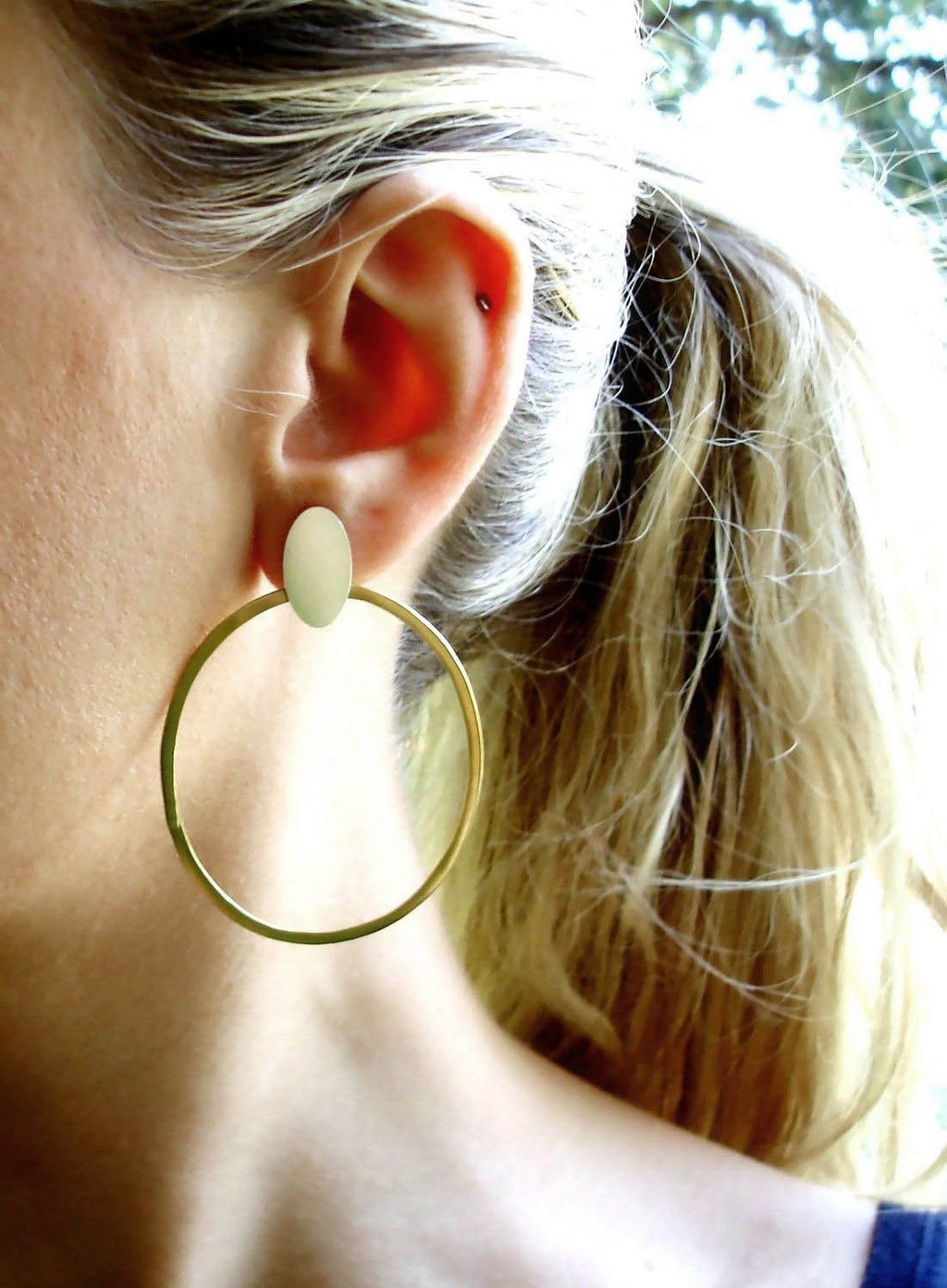 Sterling Silver & Brass Oval Boho Hoops
