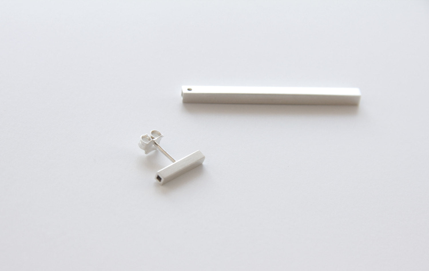 Sterling Silver Square Tube T Ear Jacket