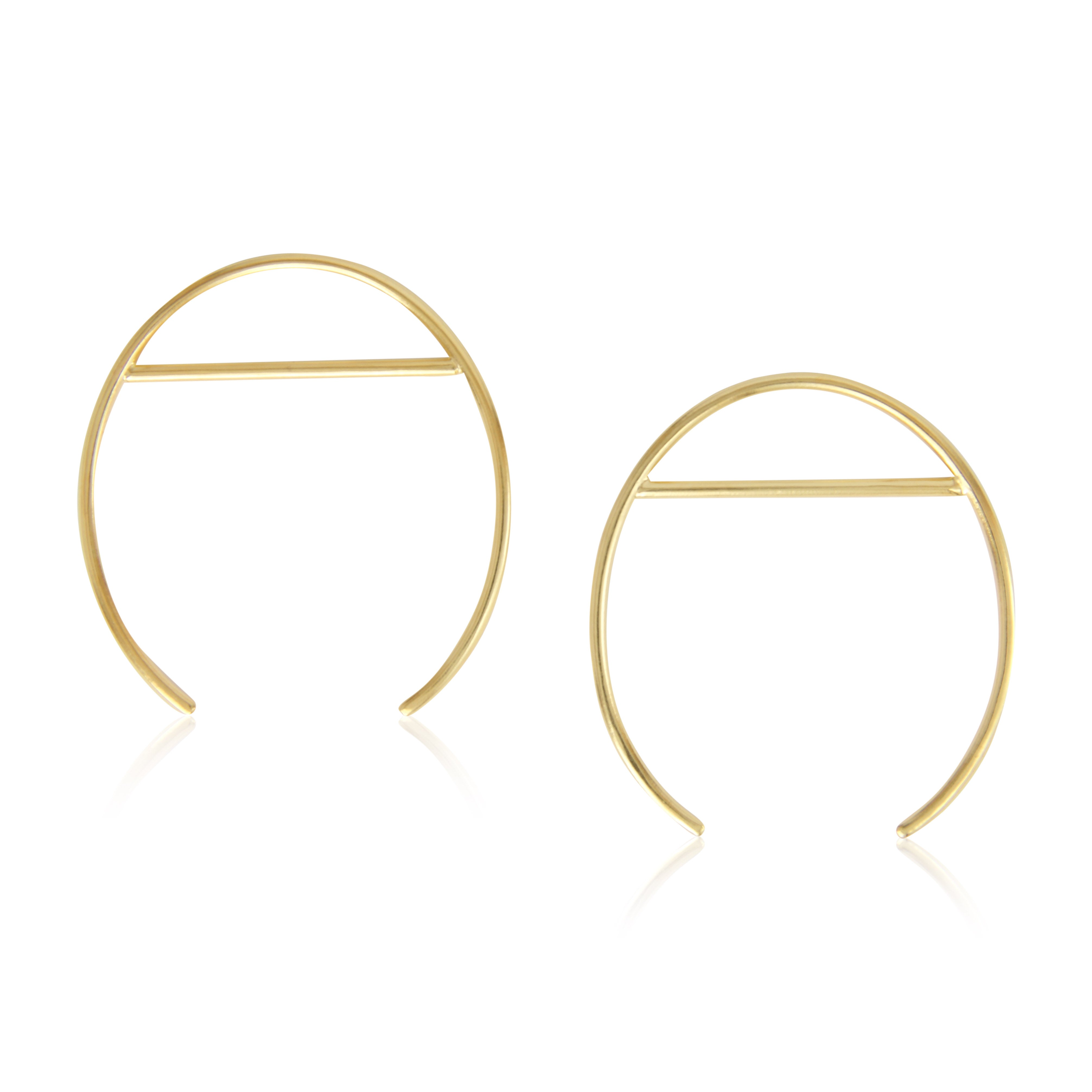 24K Gold Plated Sterling Silver Open Oval & Line Statement Earrings