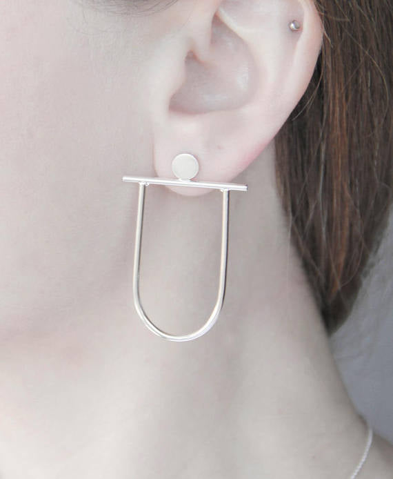 Sterling Silver Circle, Line & Arch Earrings