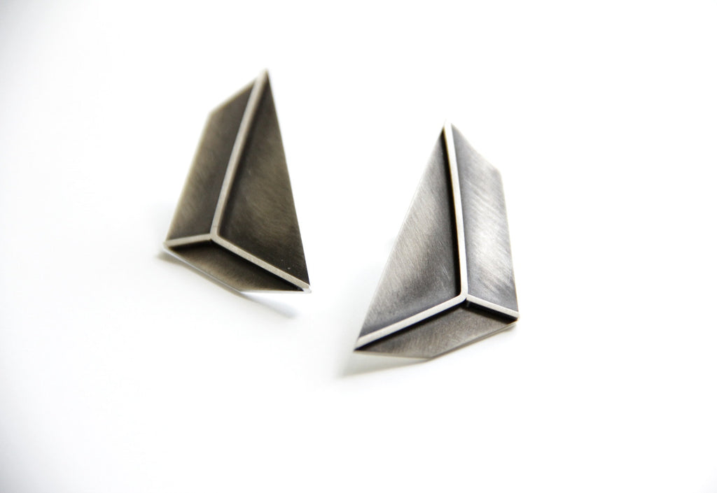 3D Effect Sterling Silver Triangle Post Earrings