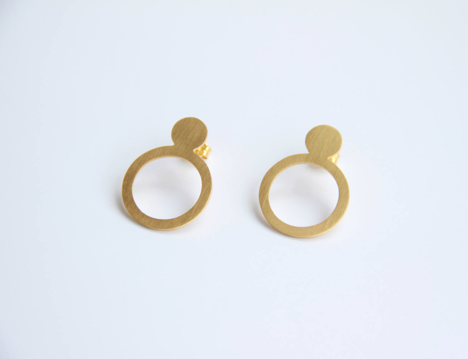 24K Gold Plated Sterling Silver Double Circle Post Earrings