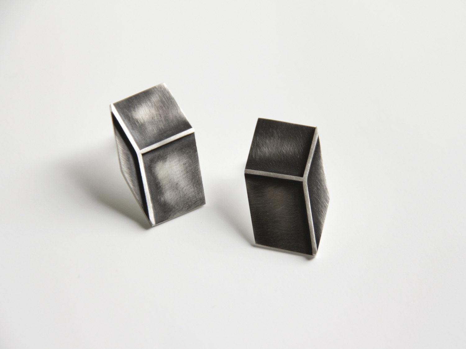 3D Effect Sterling Silver Rectangle Earrings