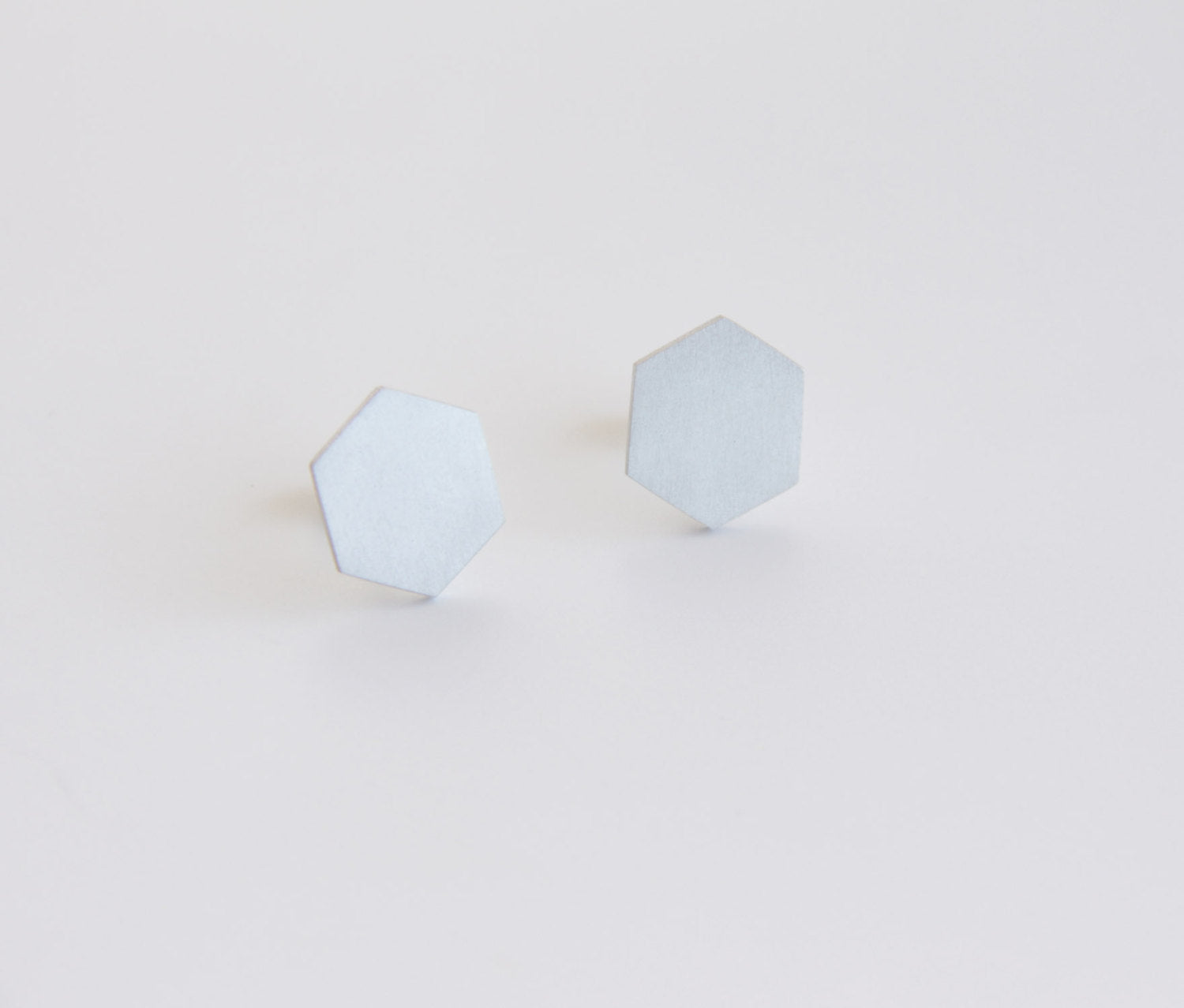 Sterling Silver Hexagon Post Earrings