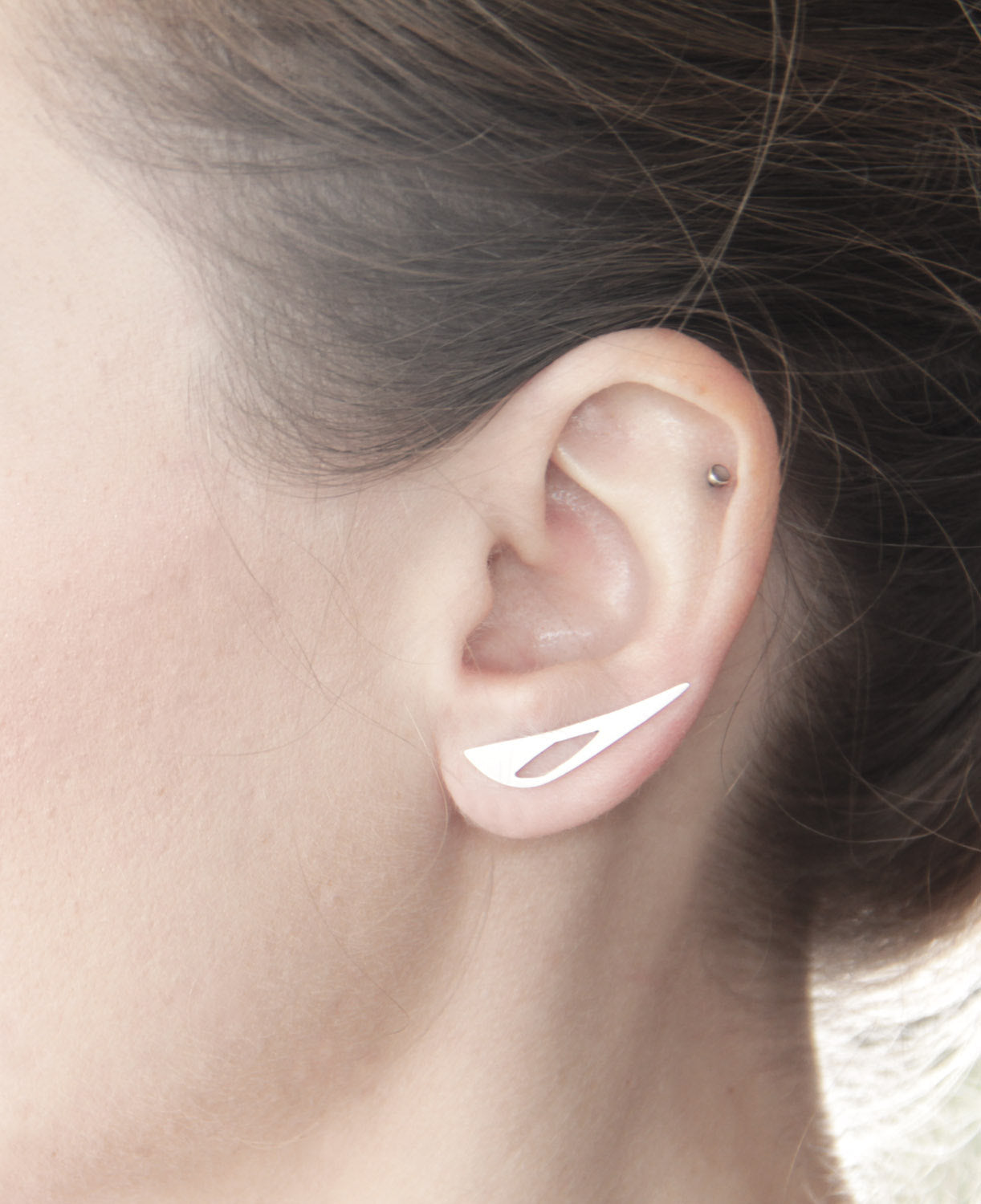 Sterling Silver Triangle Geometric Cutout Ear Climber