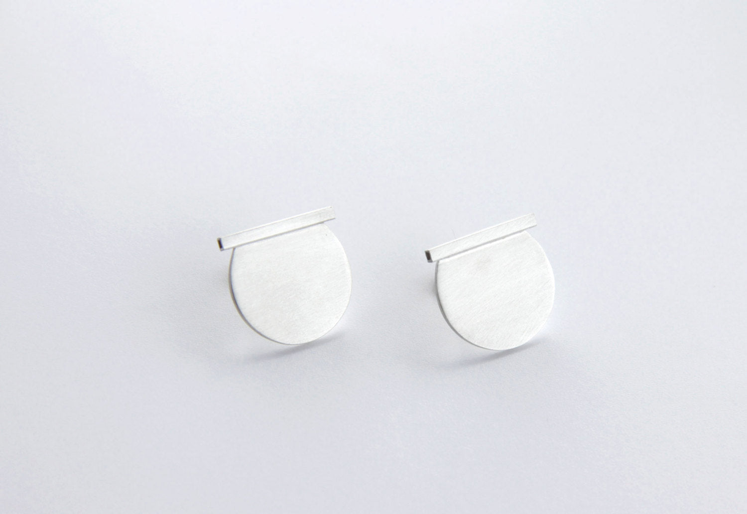 Sterling Silver Cut Circle & Line Post Earrings (Secant)
