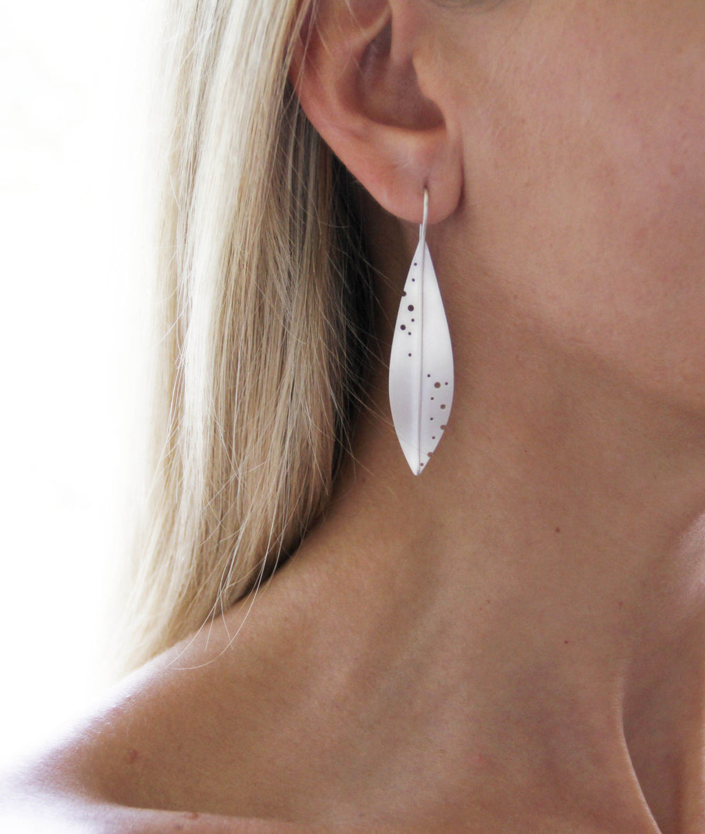 Long Sterling Silver Olive Leaf Earrings