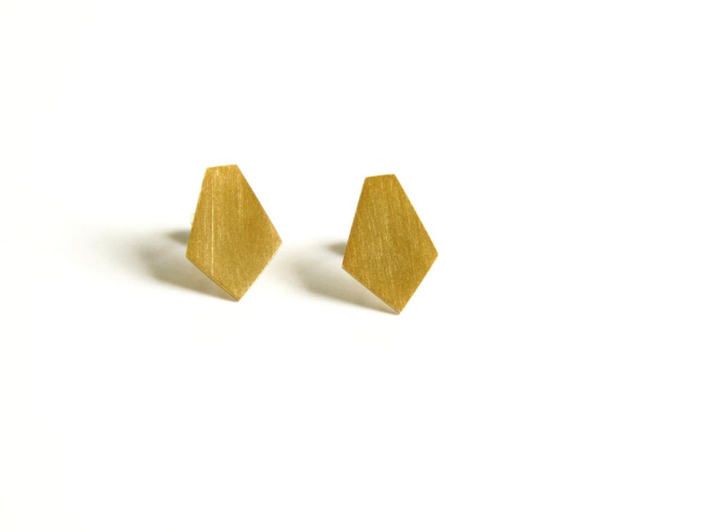 24K Gold Plated Sterling Silver Diamond Shaped Post Earrings