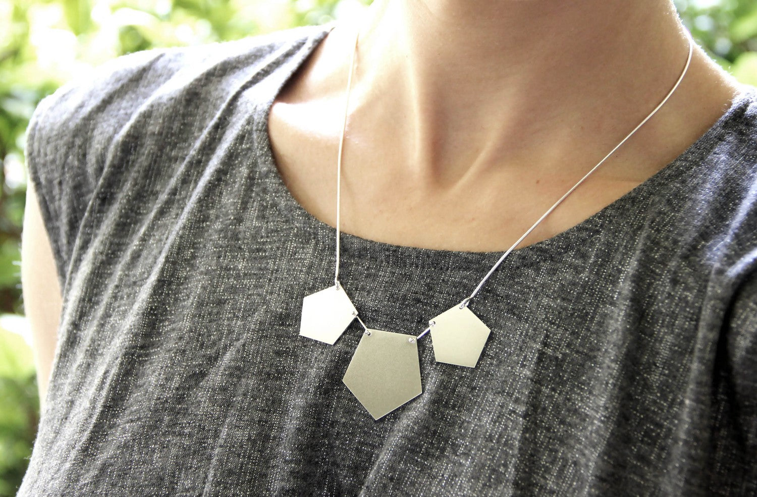 Sterling Silver Pentagon Necklace