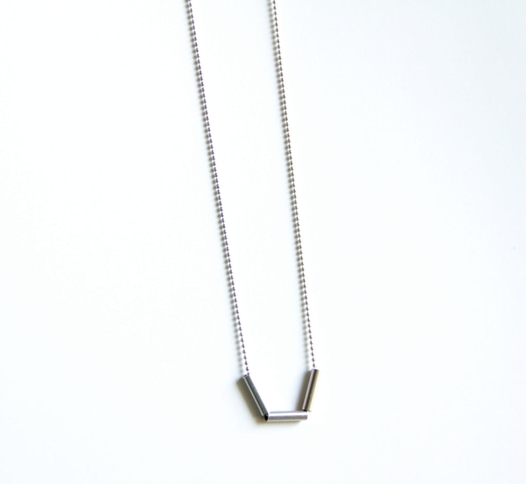 Sterling Silver Dainty Bar Necklace (3 Pieces Of Tube)