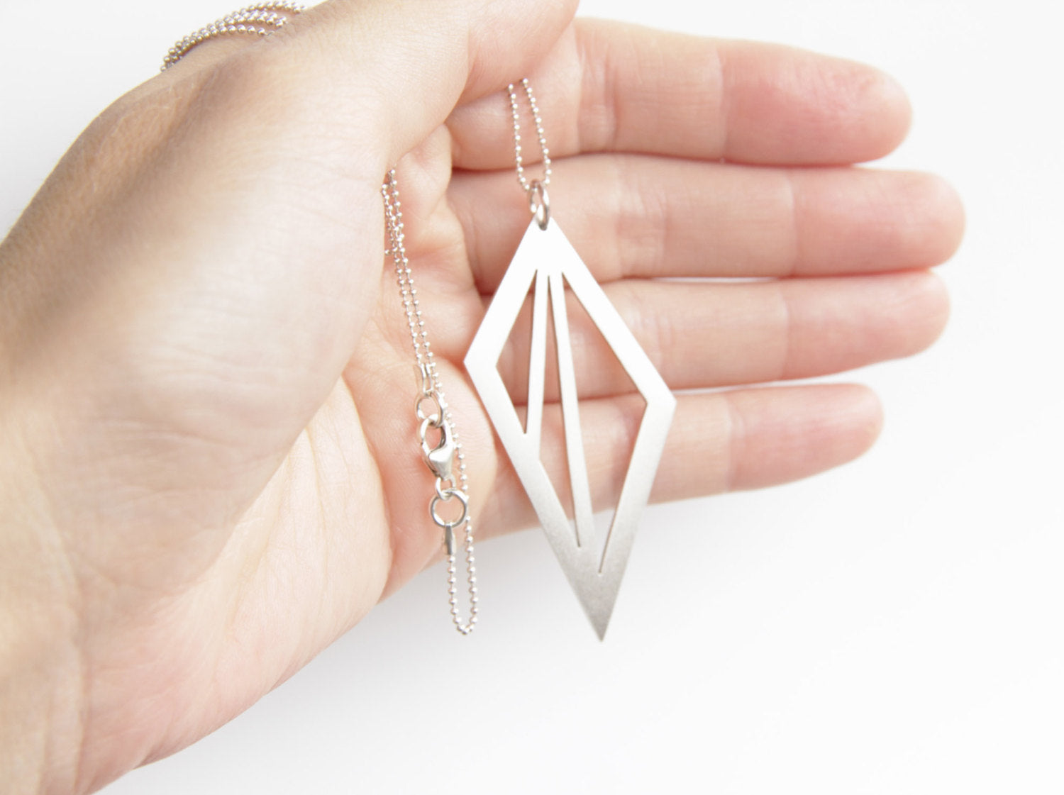 Sterling Silver Geometric Triangle Cut Out Necklace