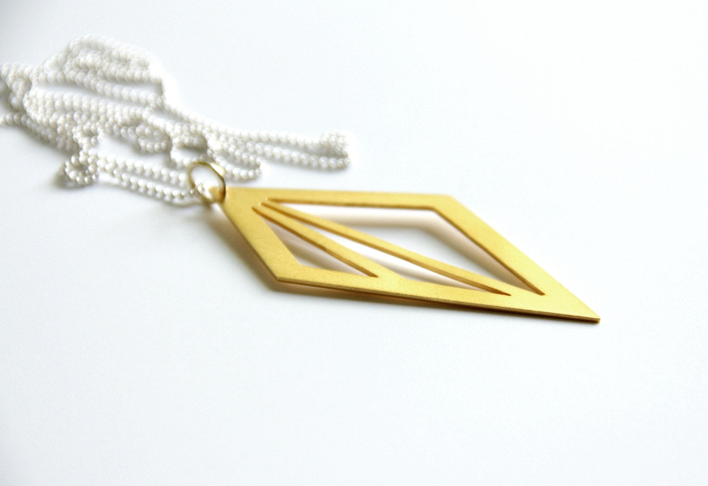 24K Gold Plated Sterling Silver Geometric Triangle Cut Out Necklace