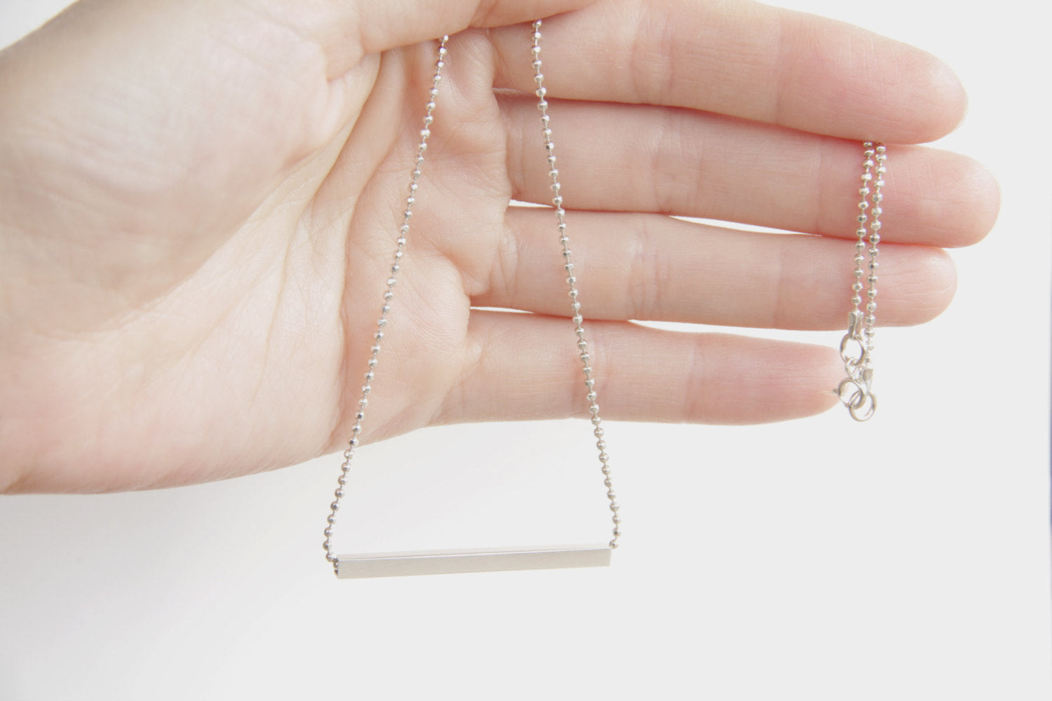 Sterling Silver Square Tube Bar Necklace W/ A Ball Chain