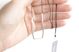 Sterling Silver Bars & Silk Cord Necklace