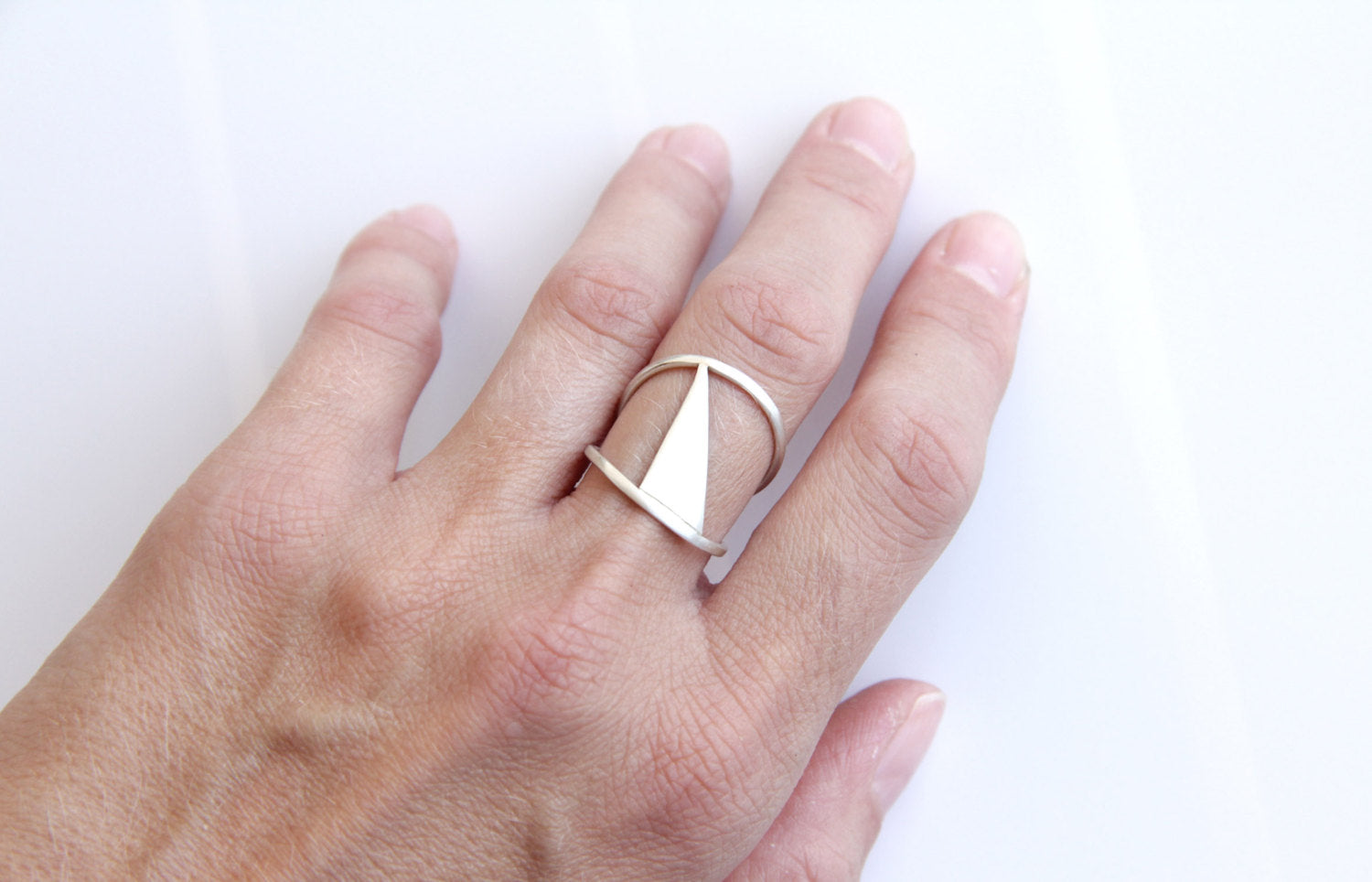 Sterling Silver Triangle Double Band Ring