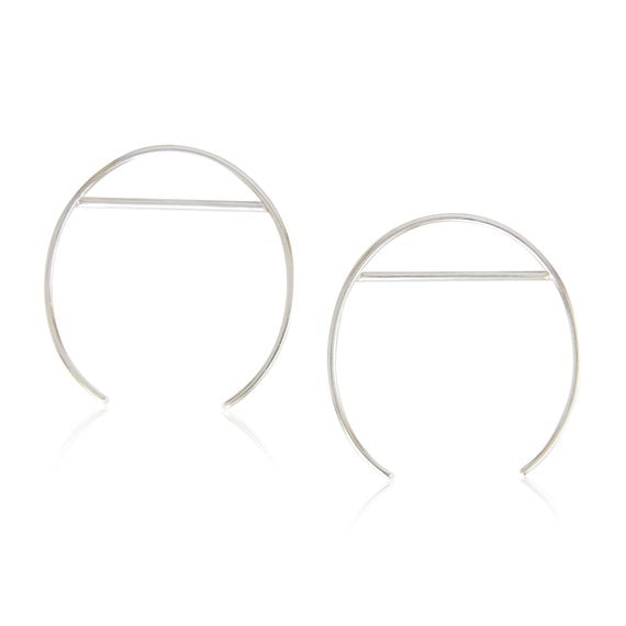 Sterling Silver Large Open Oval & Line Hoops