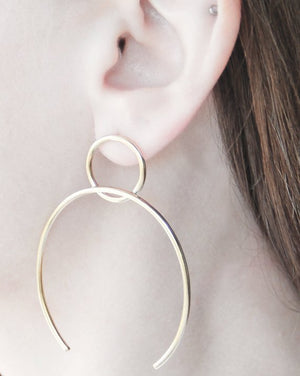 Circle & Open Oval Sterling Silver Hoops