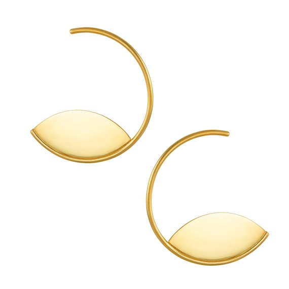 24K Gold Plated Sterling Silver Open Circle & Eye Hoop Earrings