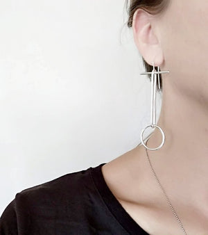 Sterling Silver Long Line Oval & Circle Earrings