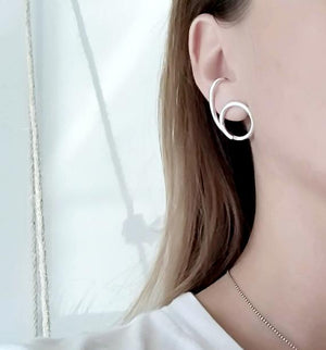Sterling Silver Suspender Cuff Earrings