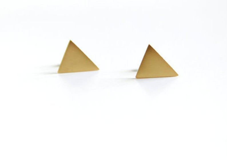 24K Gold Plated Triangle Stud Earrings