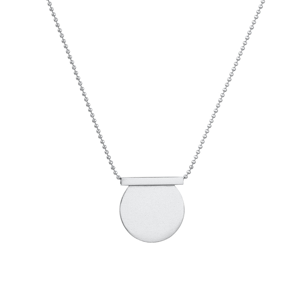 Sterling Silver Cut Circle & Line Necklace