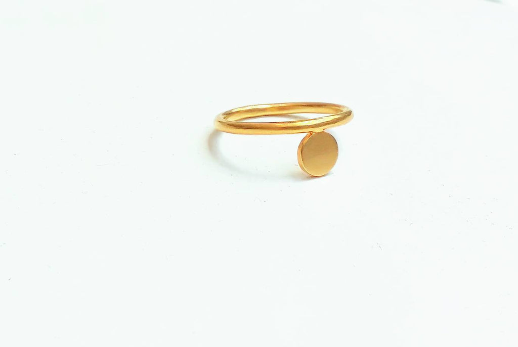 24k Gold Plated Silver Circle & Thin Band Ring