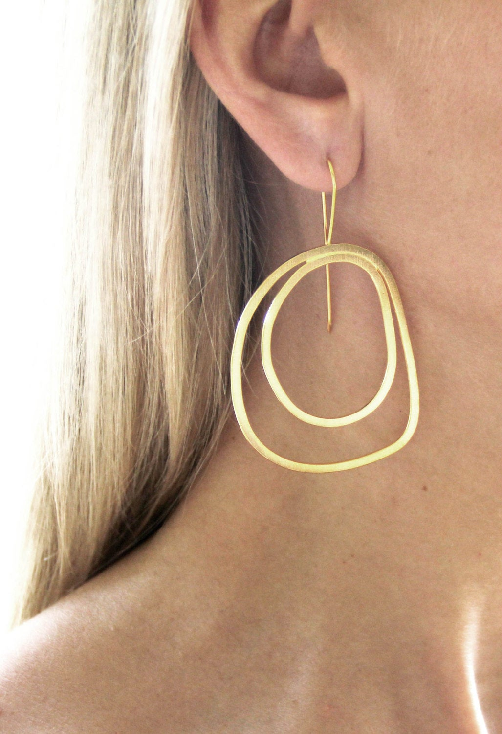 Rose Gold Plated Sterling Silver Double Hoop Earrings
