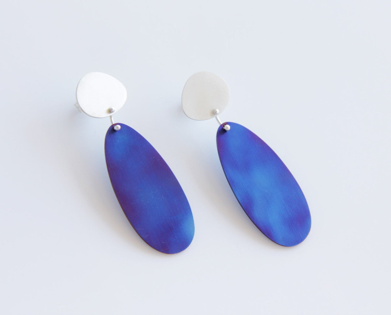 Sterling Silver & Titanium Pebble Drop Earrings