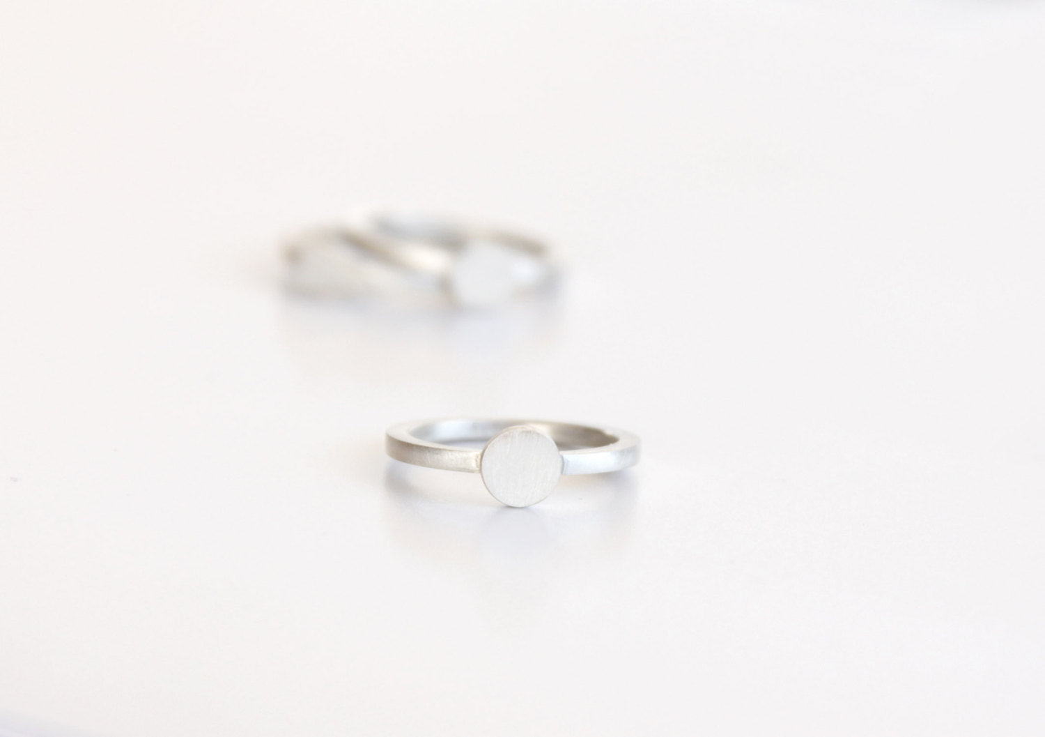 Thin Sterling Silver Geometric Stacking Rings,Set Of 3