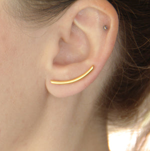 24K Gold Plated Curved Bar Ear Climber