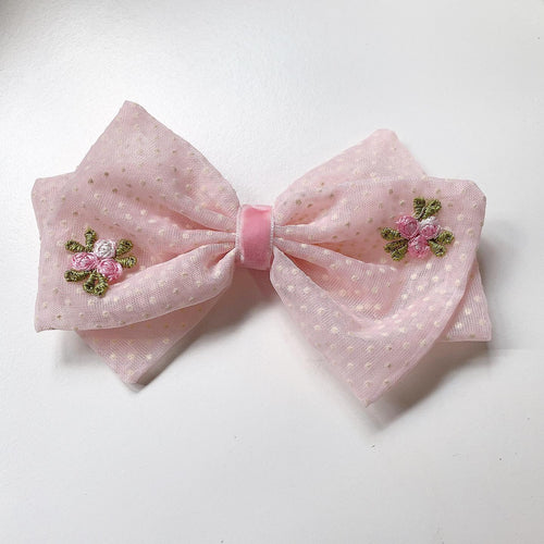 Duo layer Pink Swiss dot with flower appliqué