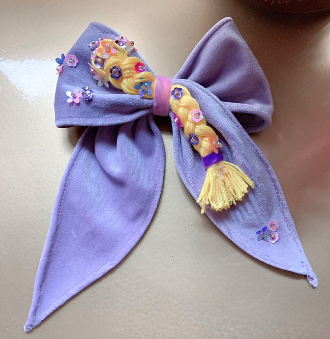 Repunzal inspired velvet bow