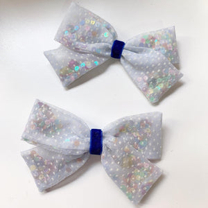 Swiss Dot Jinggling bow with colourful sequins