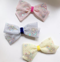 Load image into Gallery viewer, Swiss Dot Jinggling bow with colourful sequins
