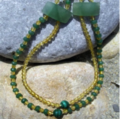 3rd & 4th CHAKRA CRYSTAL NECKLACE - 108 Beads of Citrine, Aventurine and Malachite