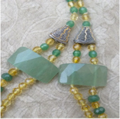 3rd & 4th CHAKRA CRYSTAL NECKLACE - 108 Beads of Gold, Citrine, Aventurine, Malachite and Silver