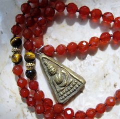 2nd CHAKRA BUDDHA PENDANT - 108 Beads of Tigers Eye, Gold and carnelian with Bronze Buddha Pendant