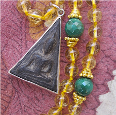3rd CHAKRA BUDDHA PENDANT - 108 Beads of Gold,Citrine and Malachite with Terracotta and Silver Buddha Pendant
