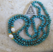 5th CHAKRA BUDDHA PENDANT - 162 Beads of Gold, White Agate and Turquoise with Buddha Pendant in Terracotta and Silver