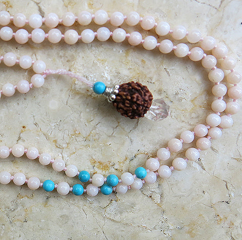 4th CHAKRA RUDRAKSHA PENDANT - 153 Beads of Pink Opal, Turquoise, Herkimer Diamond and Silver