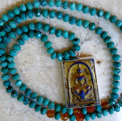 "5th & 2nd CHAKRA ""EXPRESSION"" - 144 Beads of Turquoise and Carnelian with a Silver Buddha Pendant with Pearl inlay backing"