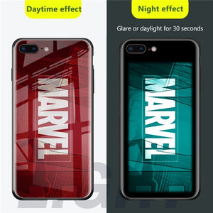 Marvel Luminous Tempered Glass Case For iPhone