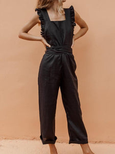 Fashion Collar Open Back Jumpsuit