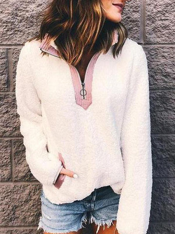 Turtle Neck Zipper Long Sleeve Pocket Casual Sweatershirts