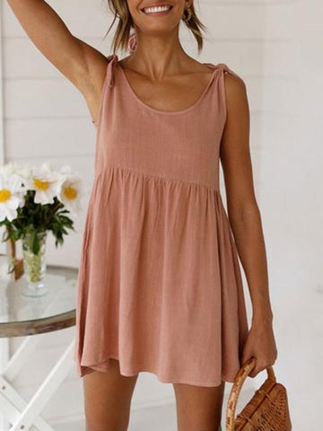 Daily Round Collar Plain Strappy Loose Mini Dress