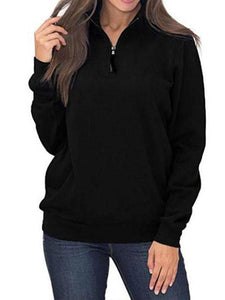 Pure Color Zipper Pockets Long Sleeve Hoodies