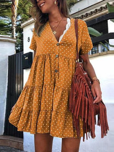 Retro Polka Dot Printed V Collar Wrinkle Loose Dress